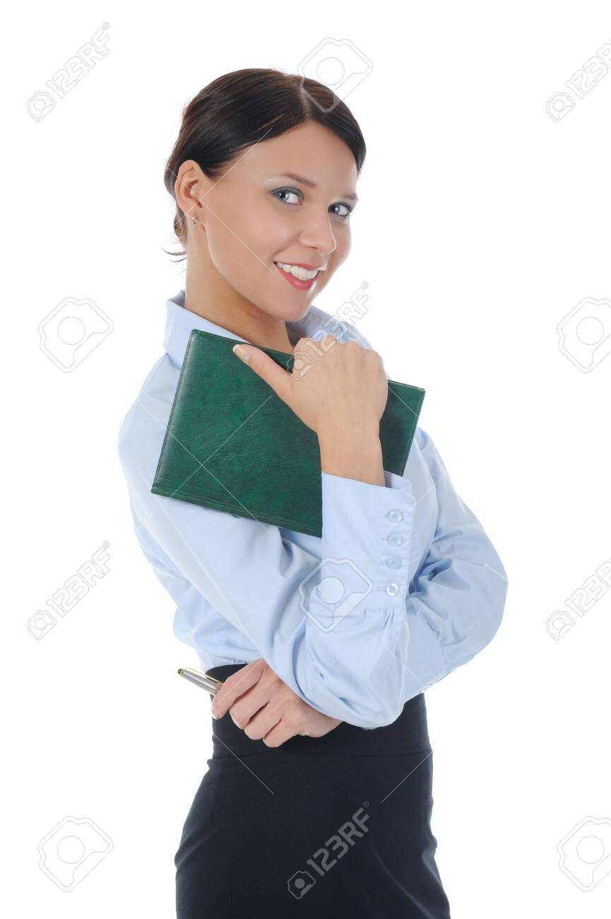 businesswoman holding a note book. Isolated on white background Stock Photo - 8061692