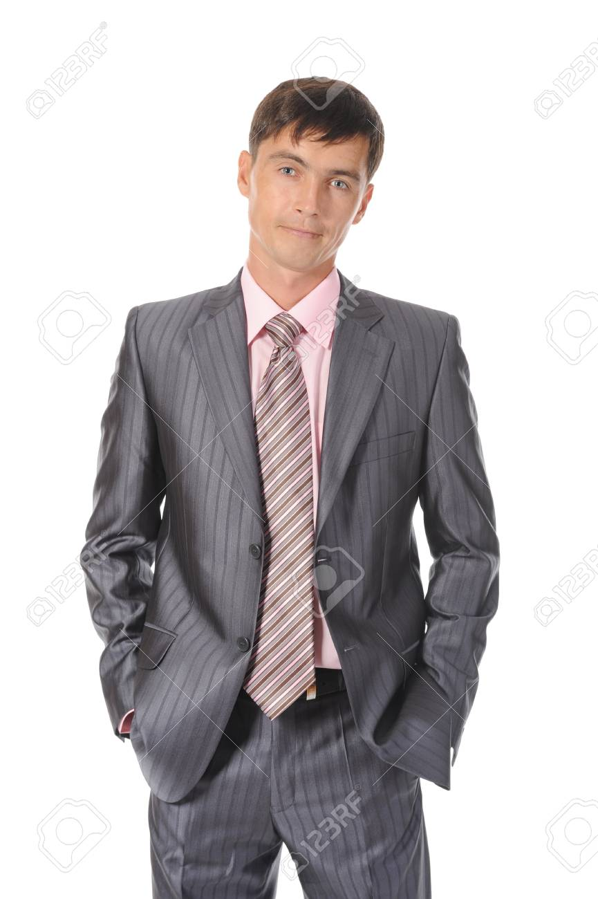 Portrait of a young businessman in suit. Isolated on white background Stock Photo - 8061716