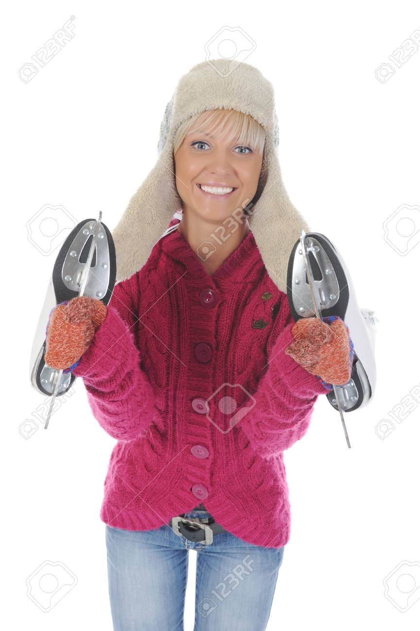 Young woman in winter clothes with skates. Isolated on white background Stock Photo - 8061717
