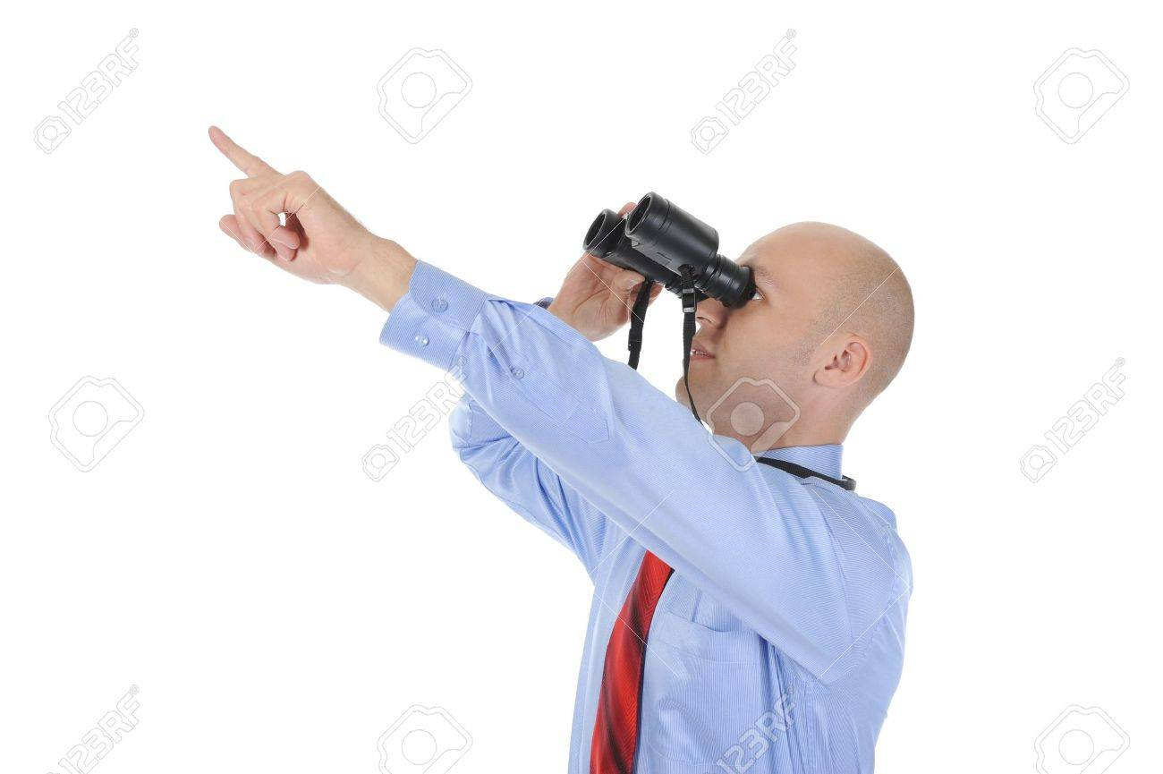 Image of a businessman looking up through binoculars. Isolated on white background Stock Photo - 8061883