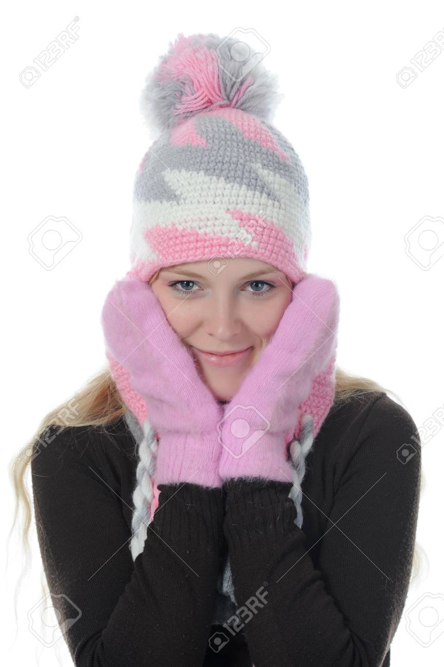 Smiling woman in winter style. Isolated on white background Stock Photo - 8061996