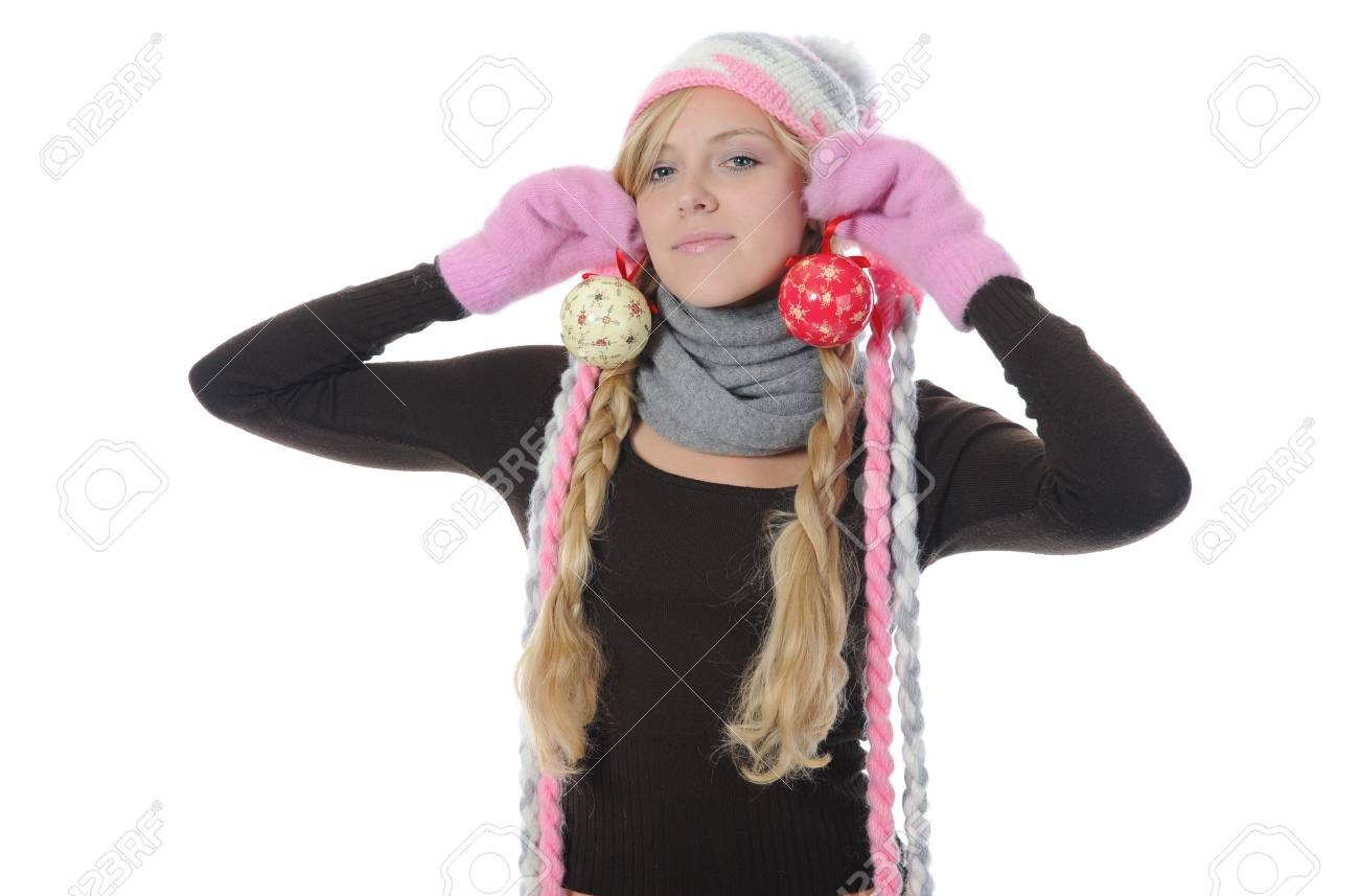 Smiling woman in winter style with New Year toys in the hands. Isolated on white Stock Photo - 8133731