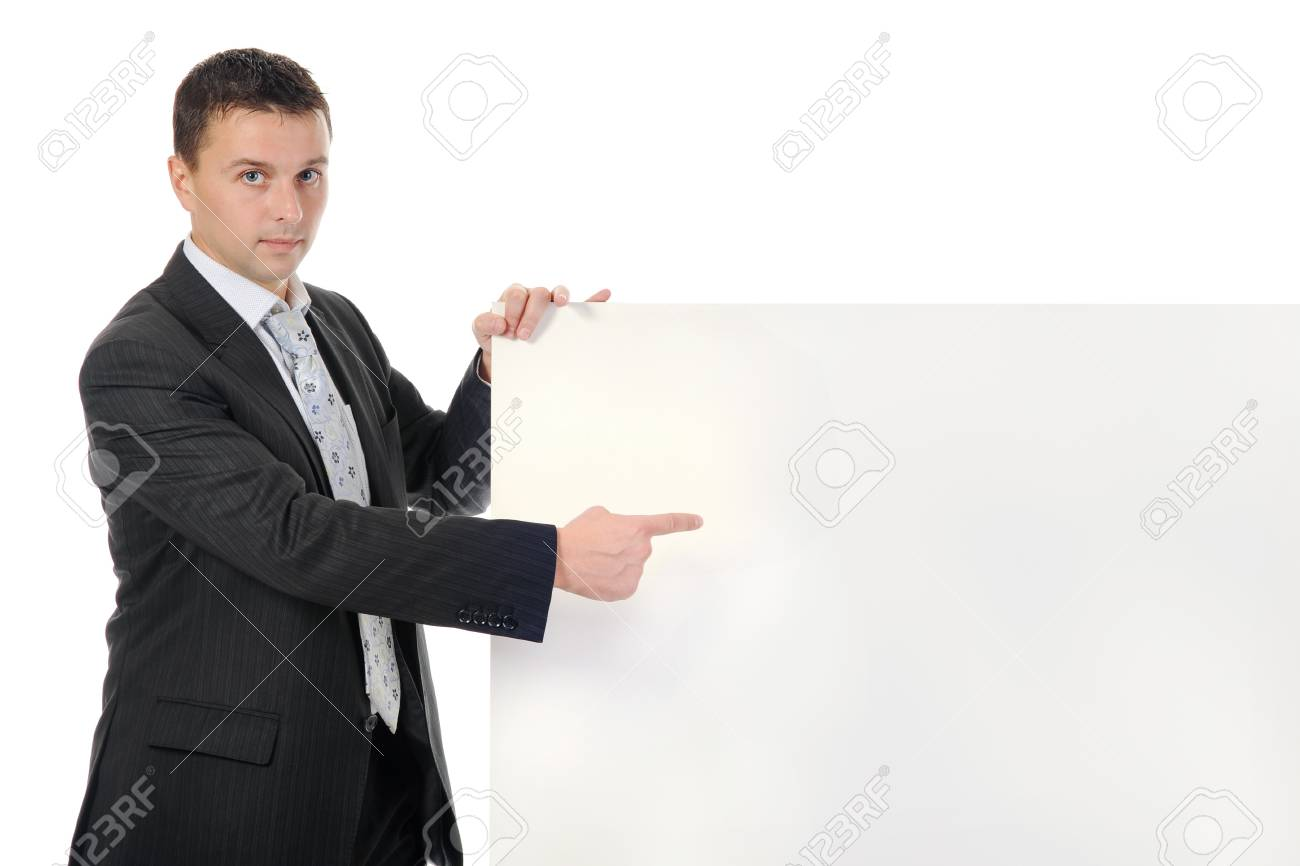 Businessman in black suit with large blank. Isolated on white background Stock Photo - 8133720
