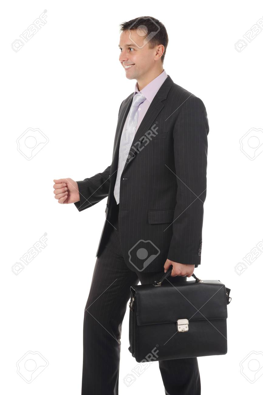 Businessman with briefcase in hand. Isolated on white background Stock Photo - 8172688