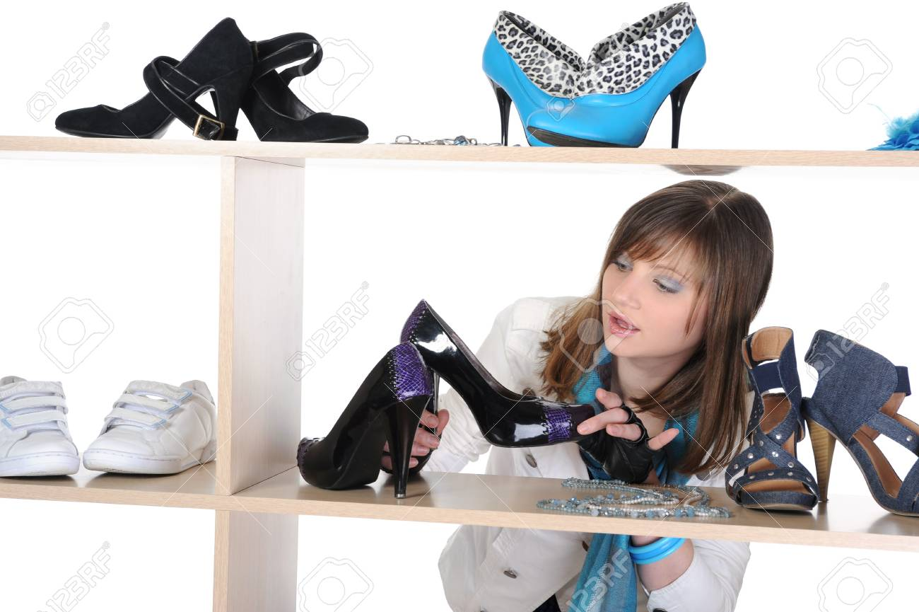 woman choosing shoes at a store Stock Photo - 8182007