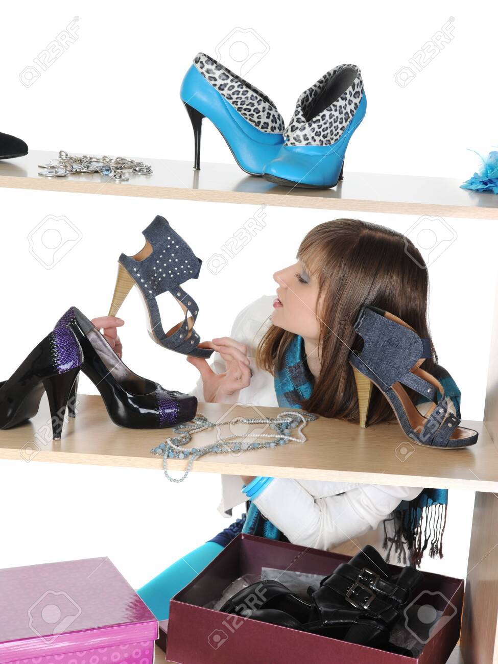 woman choosing shoes at a store Stock Photo - 8182013