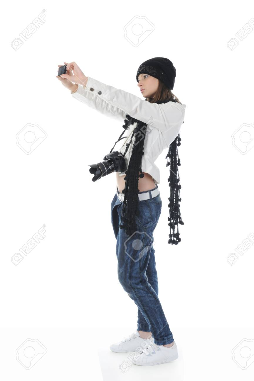 woman holds a camera Stock Photo - 8182103