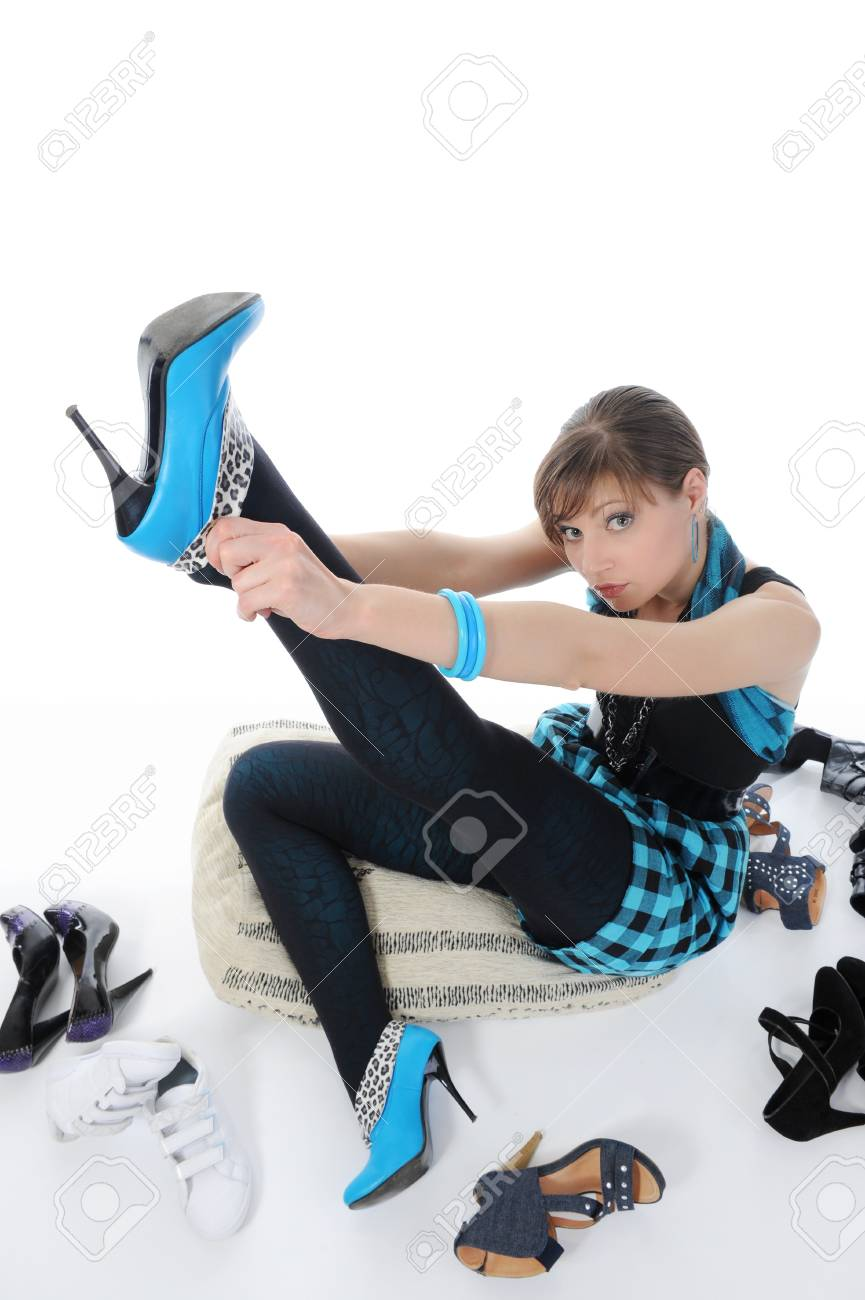 woman choosing shoes at a store Stock Photo - 8182263