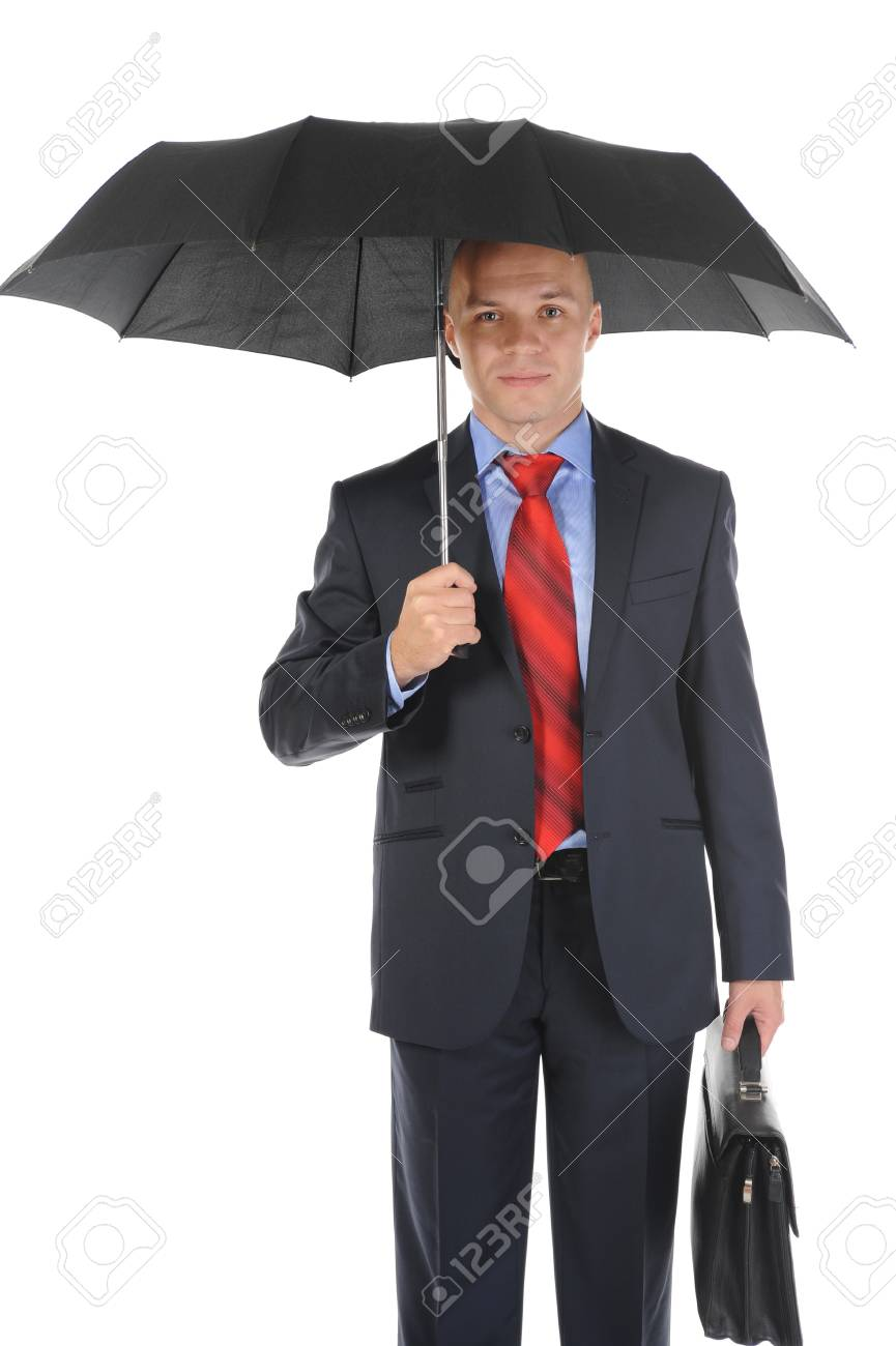 Image of a businessman with umbrella Stock Photo - 8259866