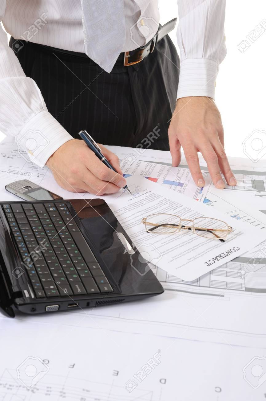 business person hands working with document Stock Photo - 8260072