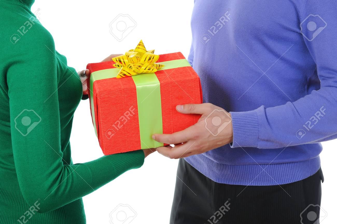man holding present  box. Isolated on white background Stock Photo - 8260481