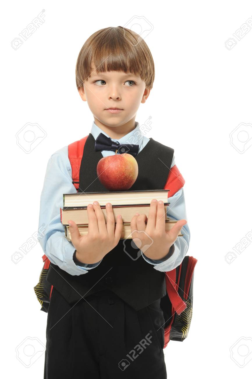 boy holds a stack of books. Isolated on white background Stock Photo - 8404233