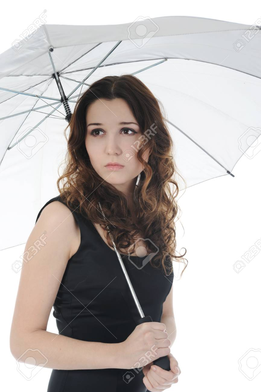 Image of a woman with umbrella. Isolated on white background Stock Photo - 8404350