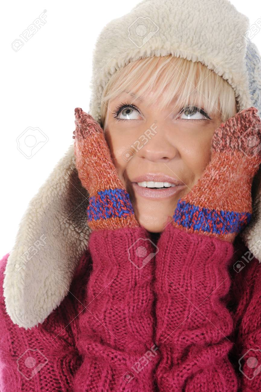 Smiling woman in winter style. Isolated on white background Stock Photo - 8442337