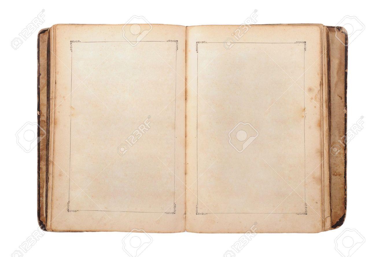 Livre Ancien Ouvert Isole Sur Fond Blanc