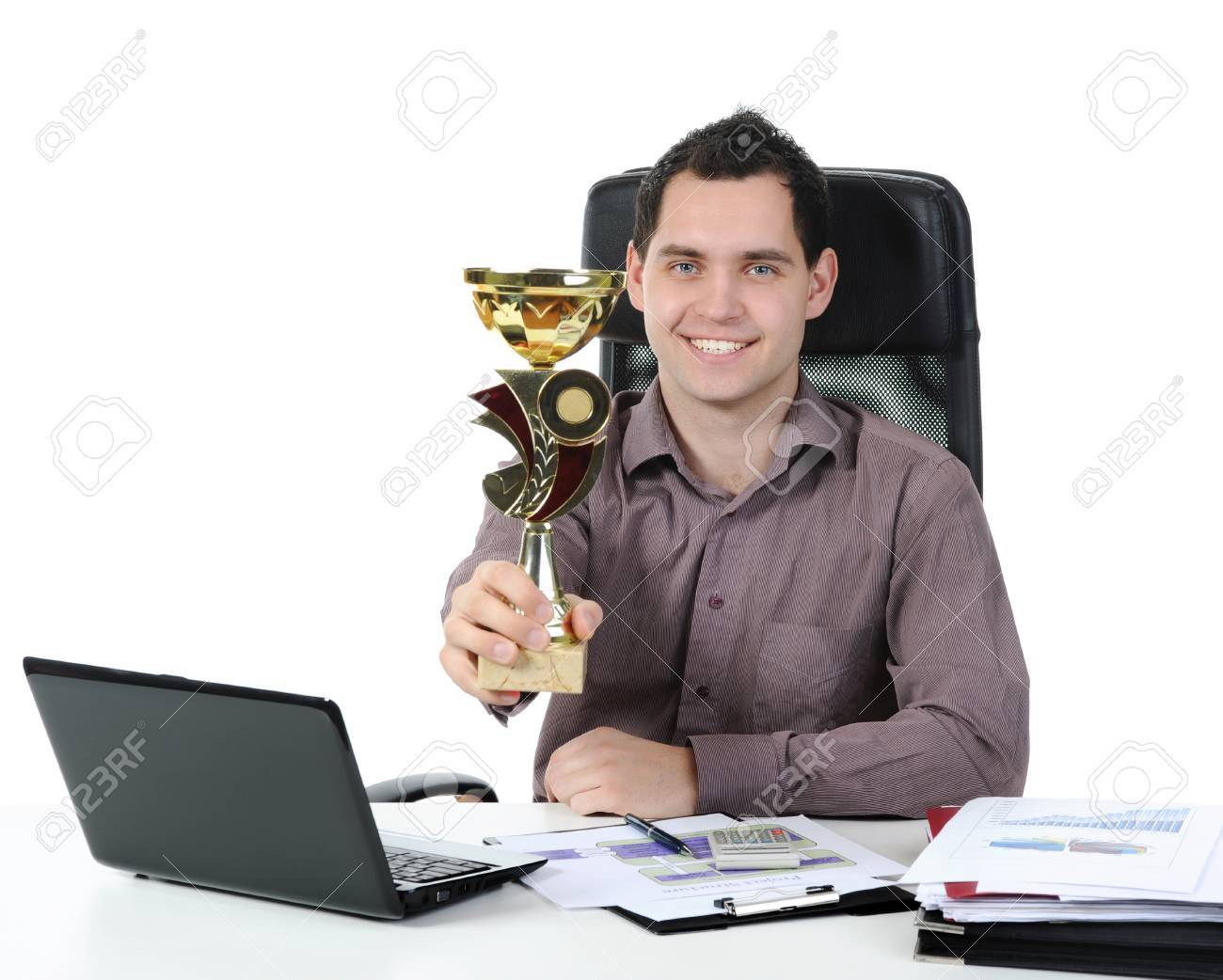 Portrait of a happy businessman with the cup in his hand. Isolated on white background Stock Photo - 8596806