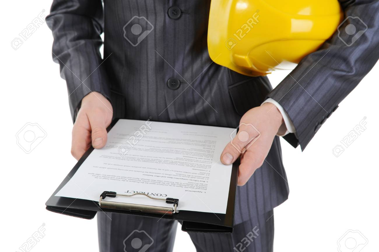 Businessman with construction helmet Stock Photo - 8735270