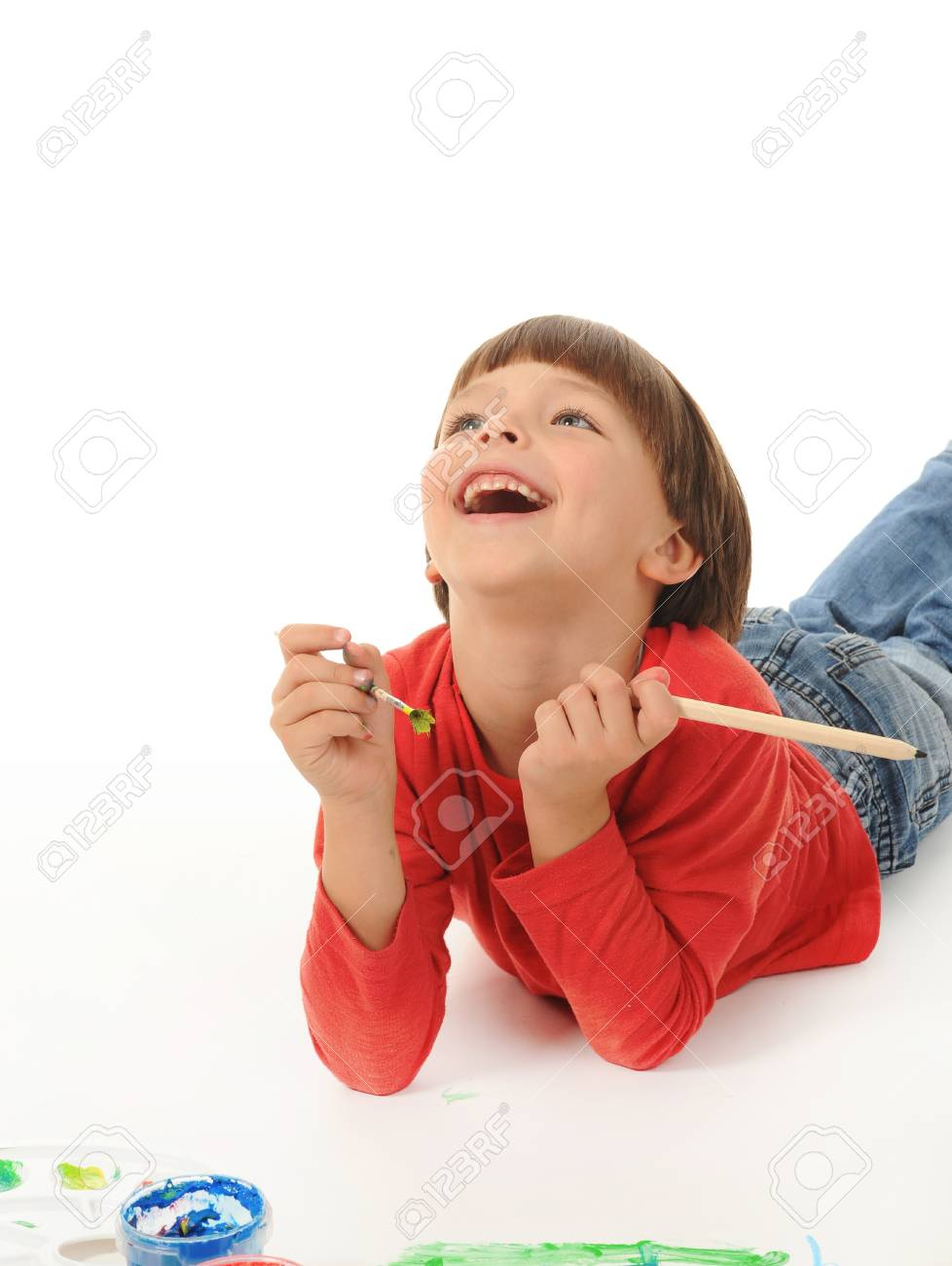 little boy paints Stock Photo - 8734994