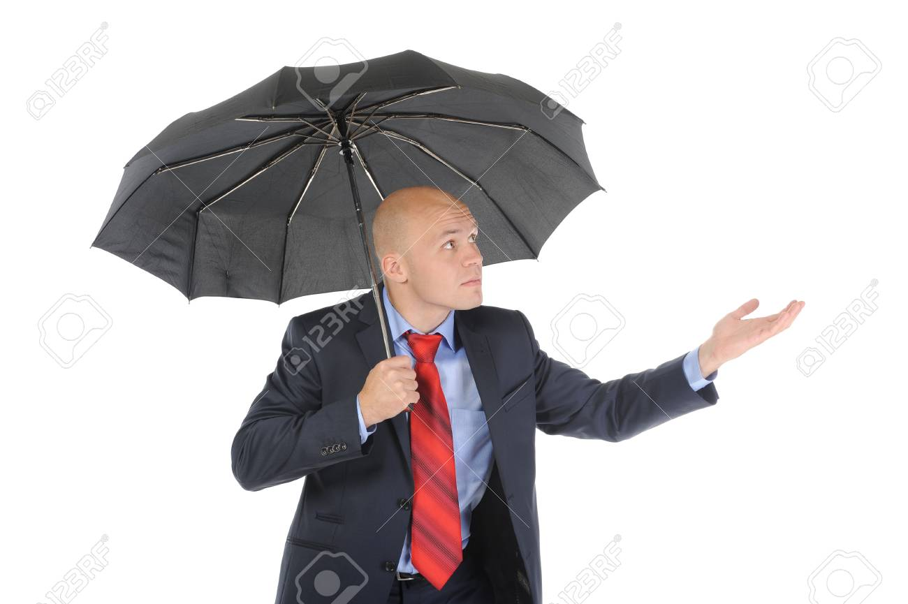 Image of a businessman with umbrella Stock Photo - 8880597