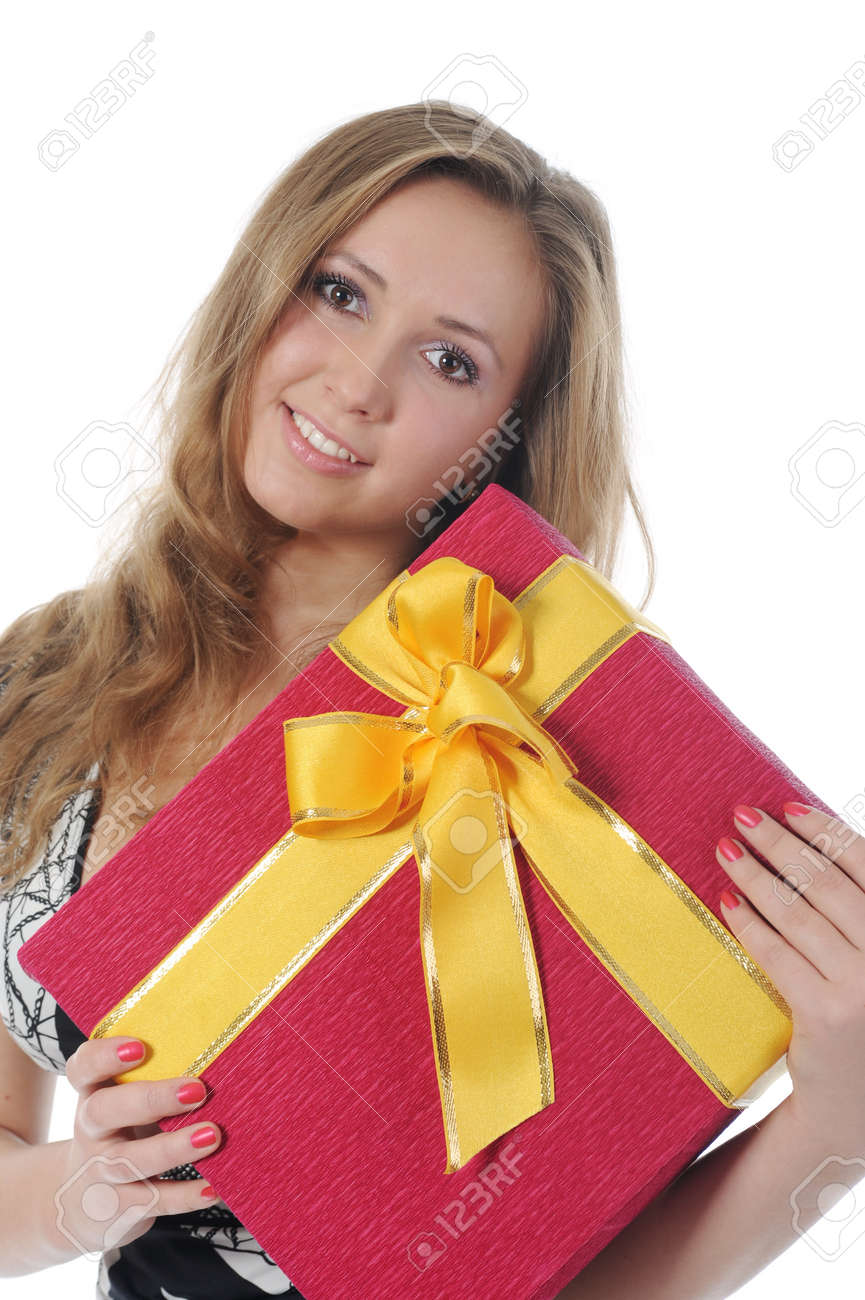 blonde with a gift Stock Photo - 8880704