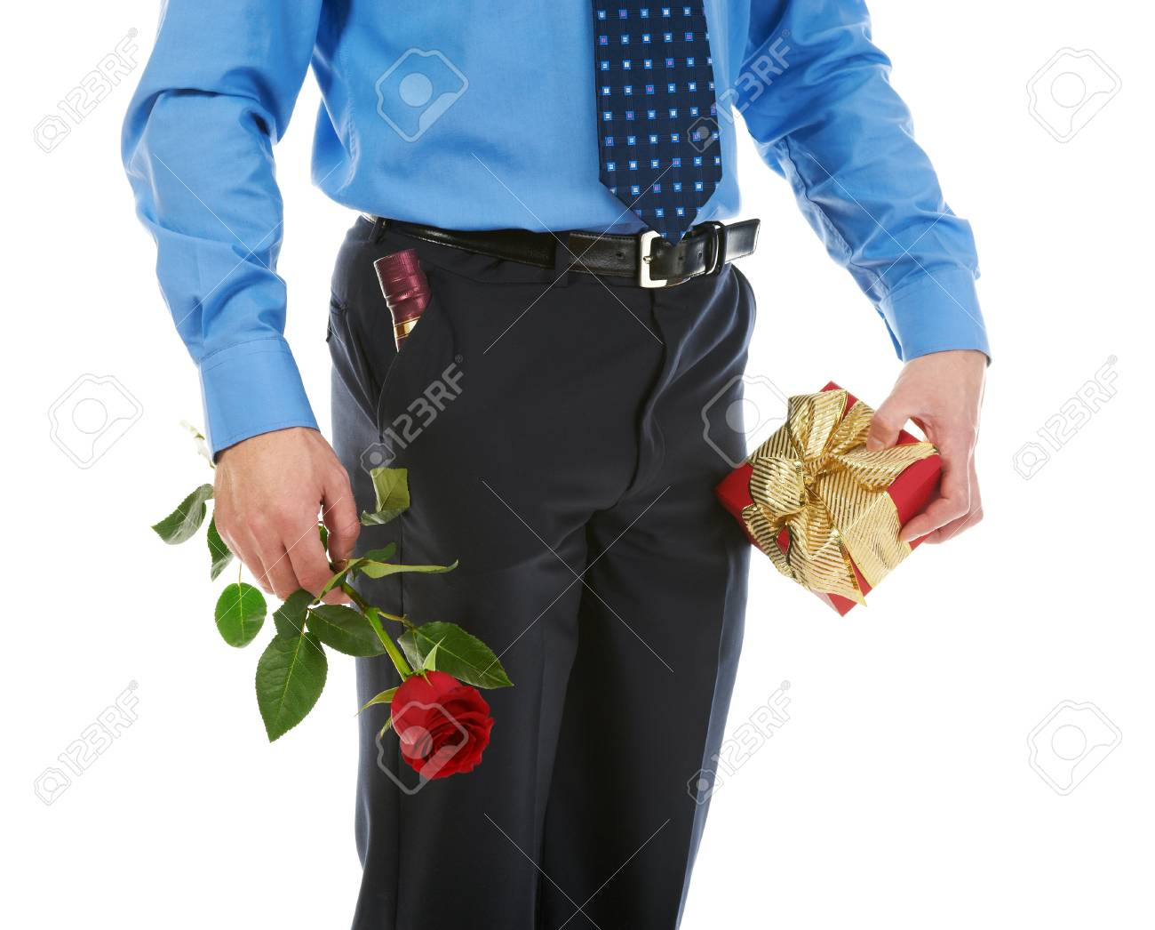 man with a gift box and a rose Stock Photo - 8890068