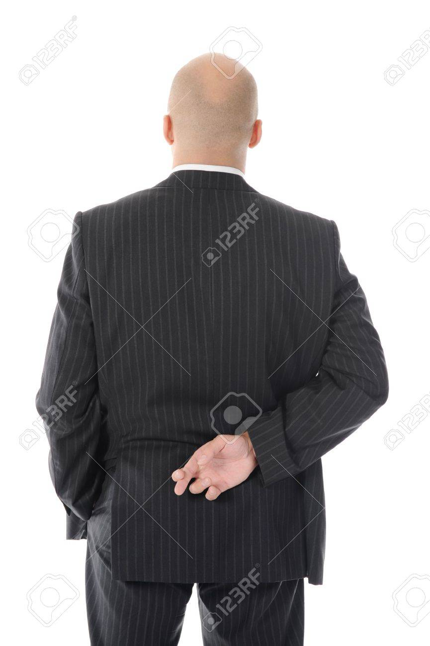 businessman with crossed fingers at back Stock Photo - 8891589