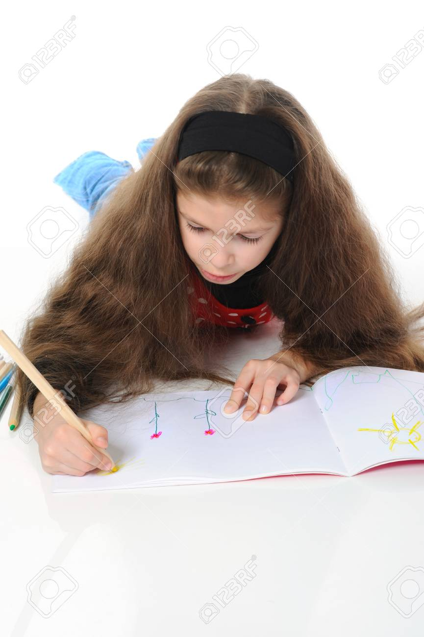 Girl draws Stock Photo - 9125298