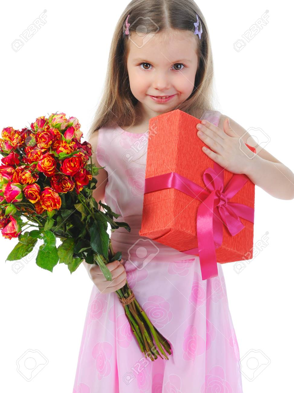 little girl with a rose. Stock Photo - 9125429