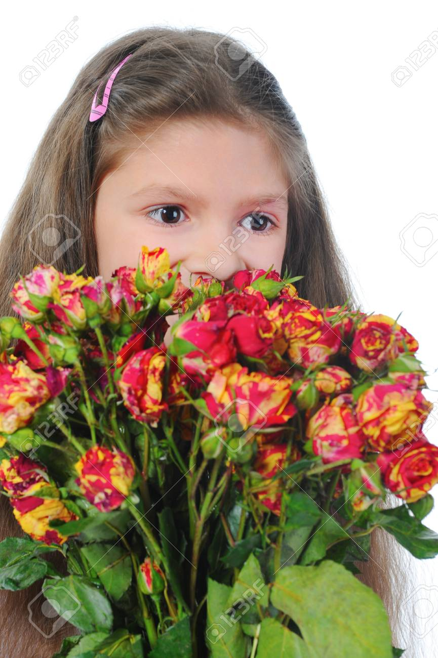 little girl with a rose. Stock Photo - 9125592