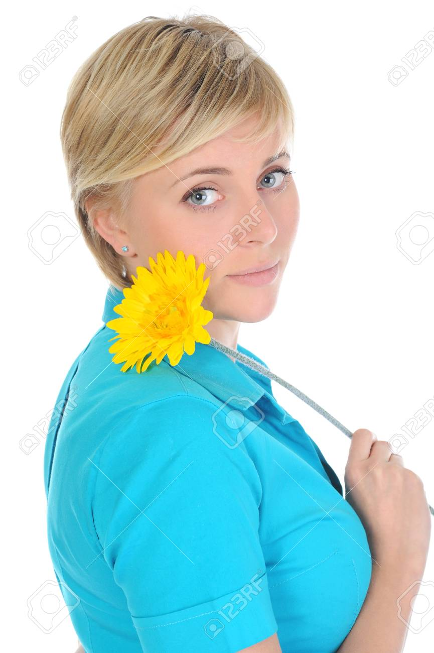 young woman with a yellow flower. Stock Photo - 9292818