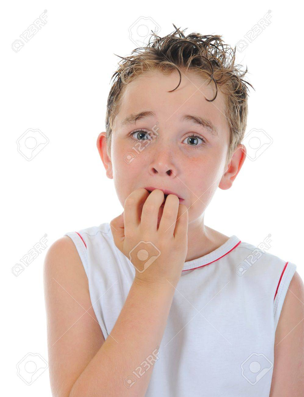 Portrait of a frightened boy Stock Photo - 9951922