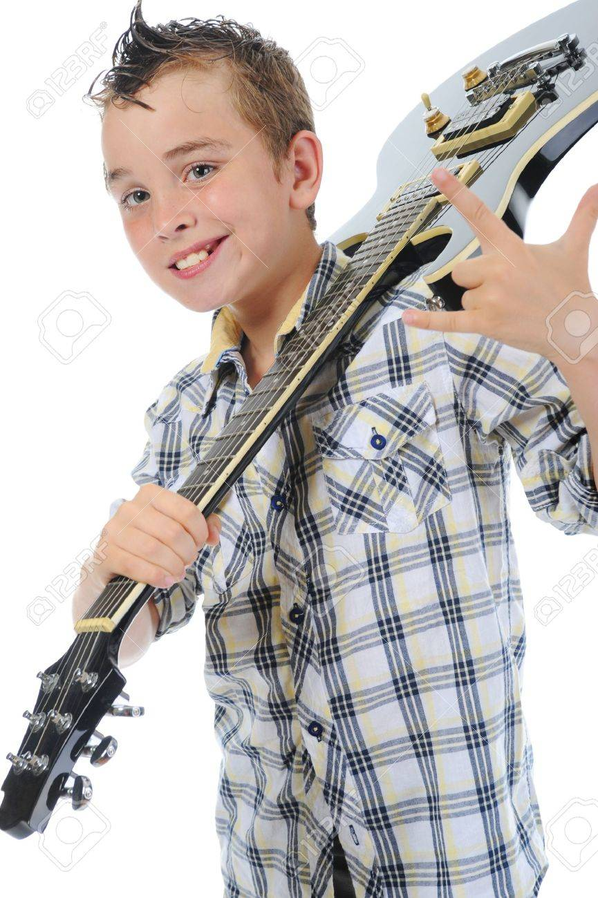 Little musician playing guitar Stock Photo - 9951984