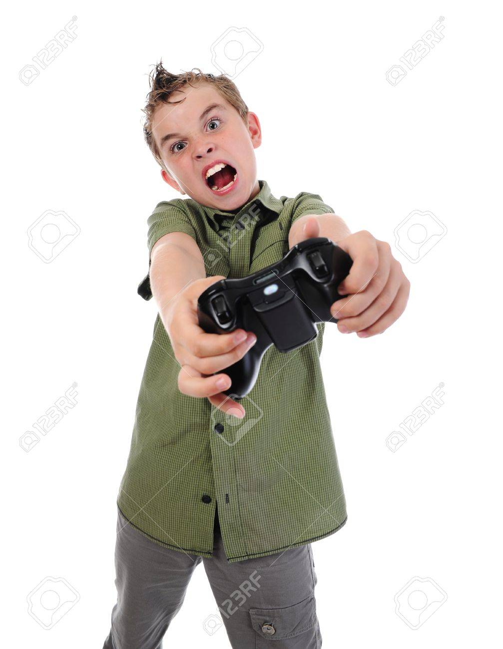 funny boy with a joystick Stock Photo - 9952449