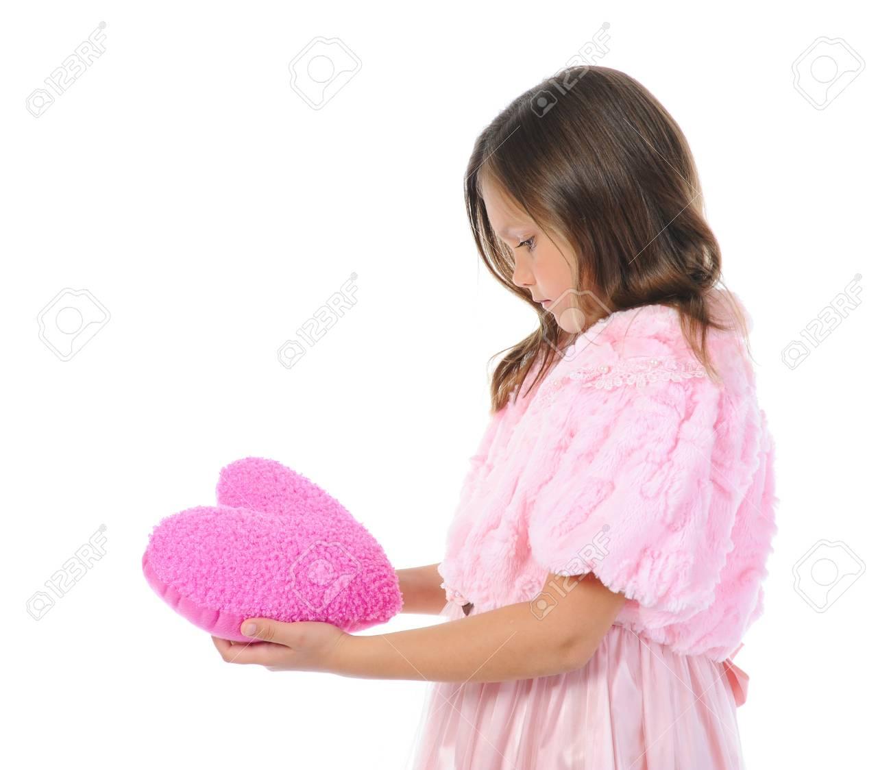 Little girl holding heart Stock Photo - 9952045