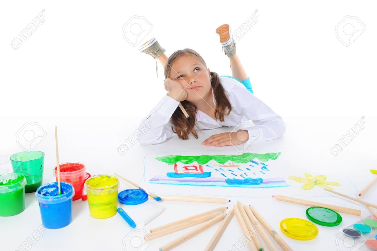 Girl draws Stock Photo - 9952124