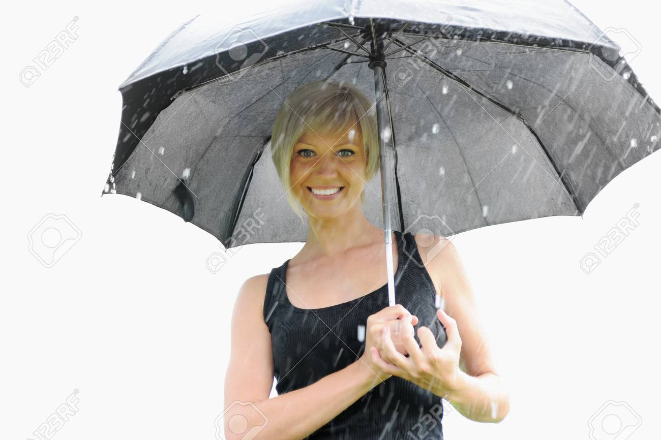 Image of a woman with umbrella Stock Photo - 10498381