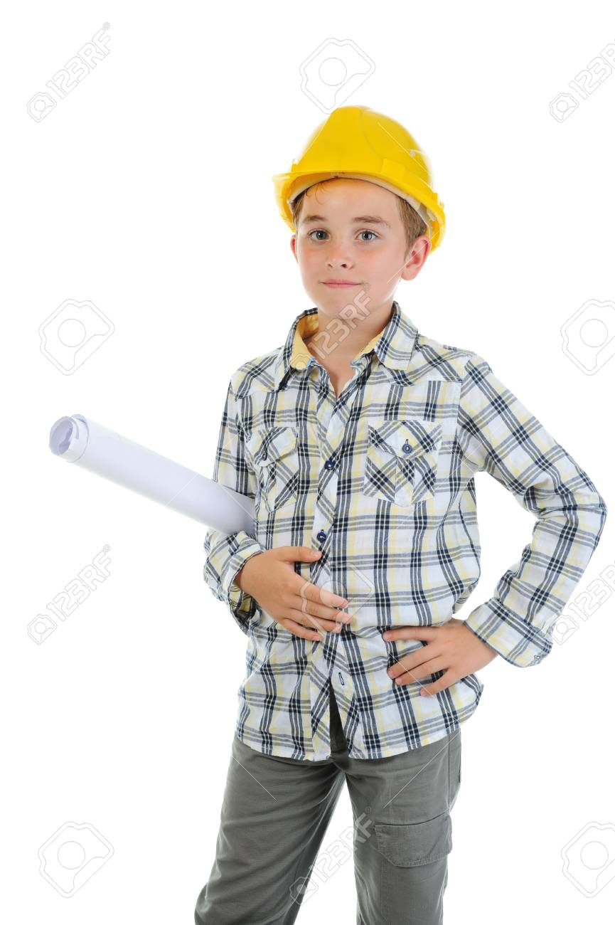 Little smiling builder in helmet Stock Photo - 10544780