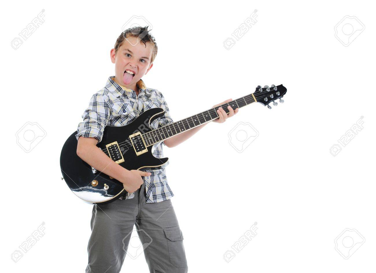 Little musician playing guitar Stock Photo - 10544773