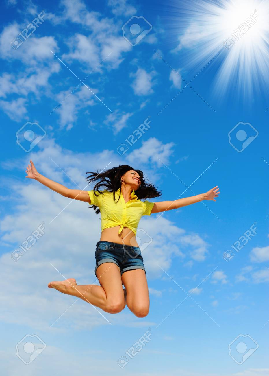 Beautiful Woman over blue Sky Stock Photo - 11342937