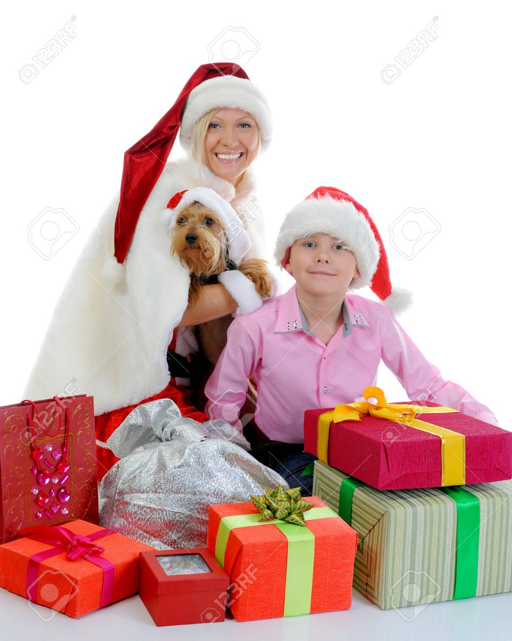 Cheerful boy in Santa Claus hat Stock Photo - 11342953