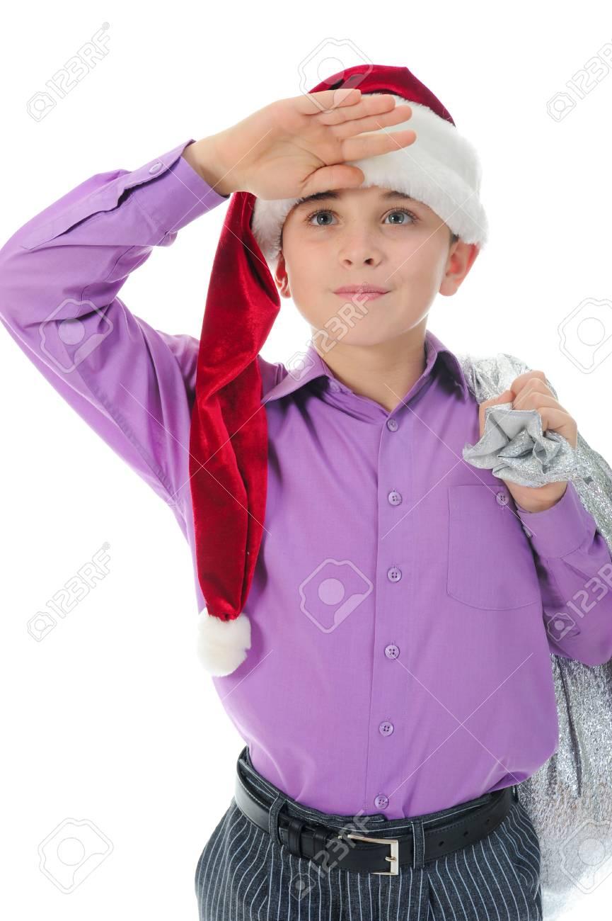 Cheerful boy in Santa Claus hat Stock Photo - 11343703