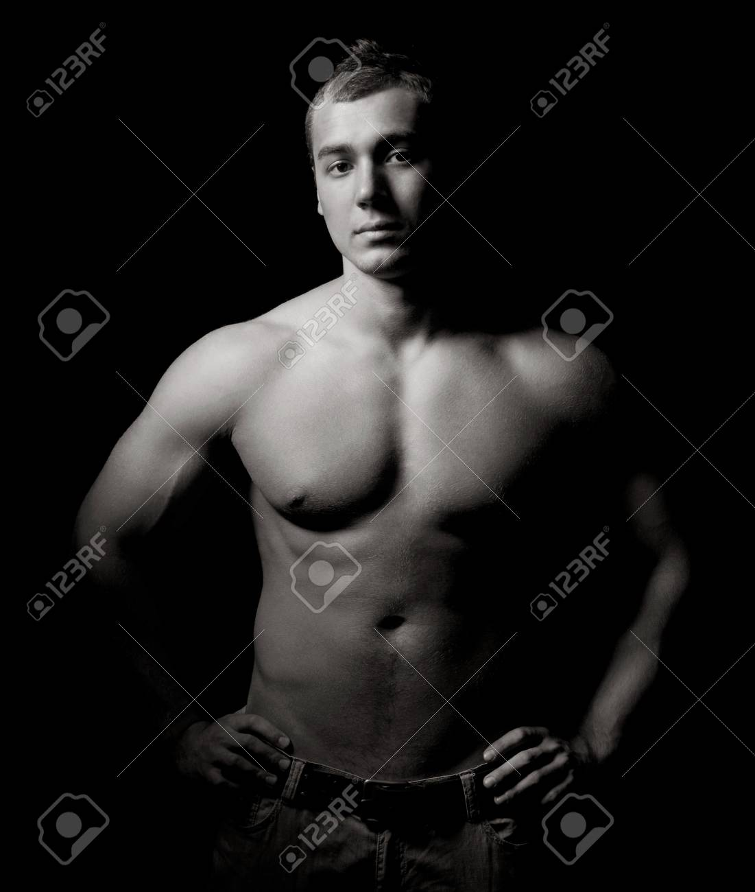 Bodybuilder showing his muscles Stock Photo - 13587820