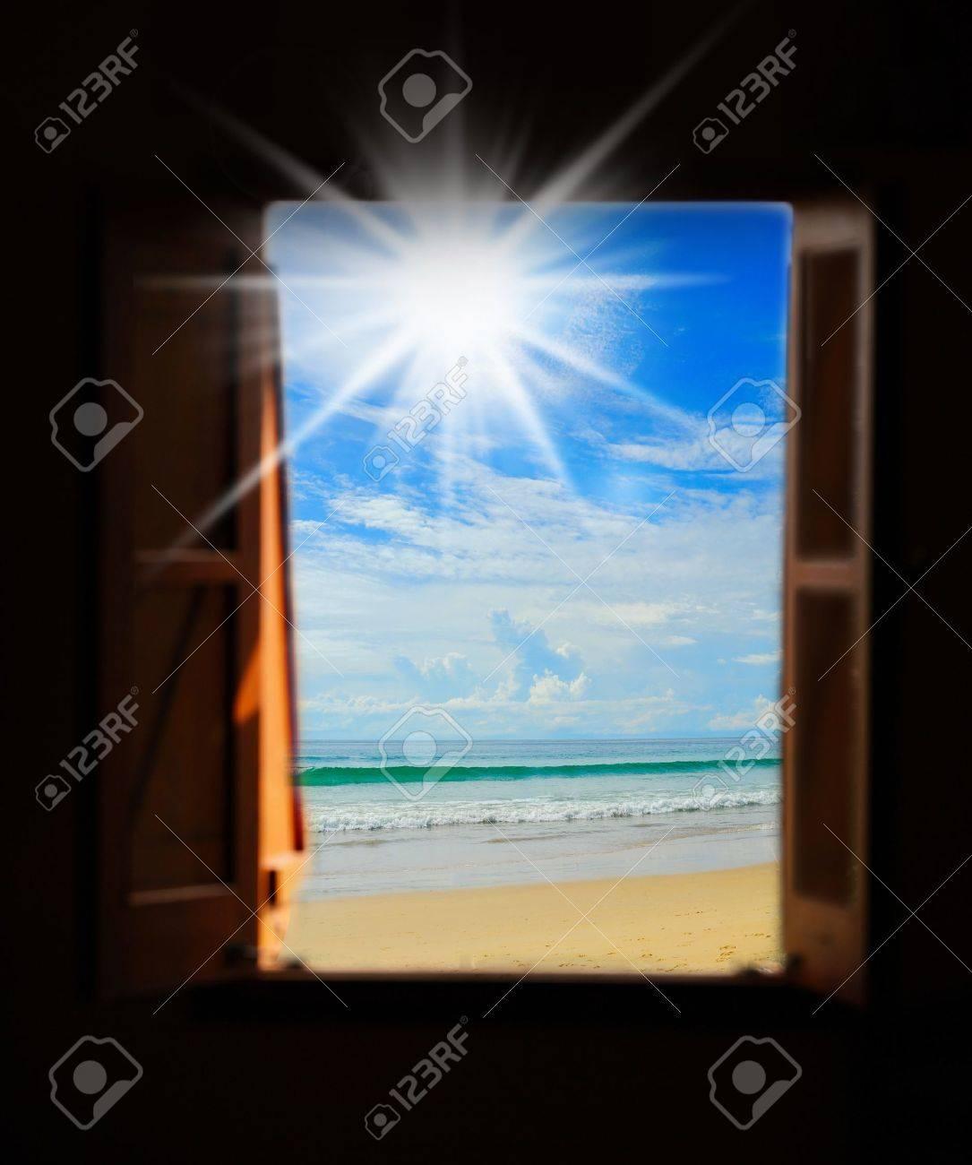 Sea view through an open window Stock Photo - 19926716