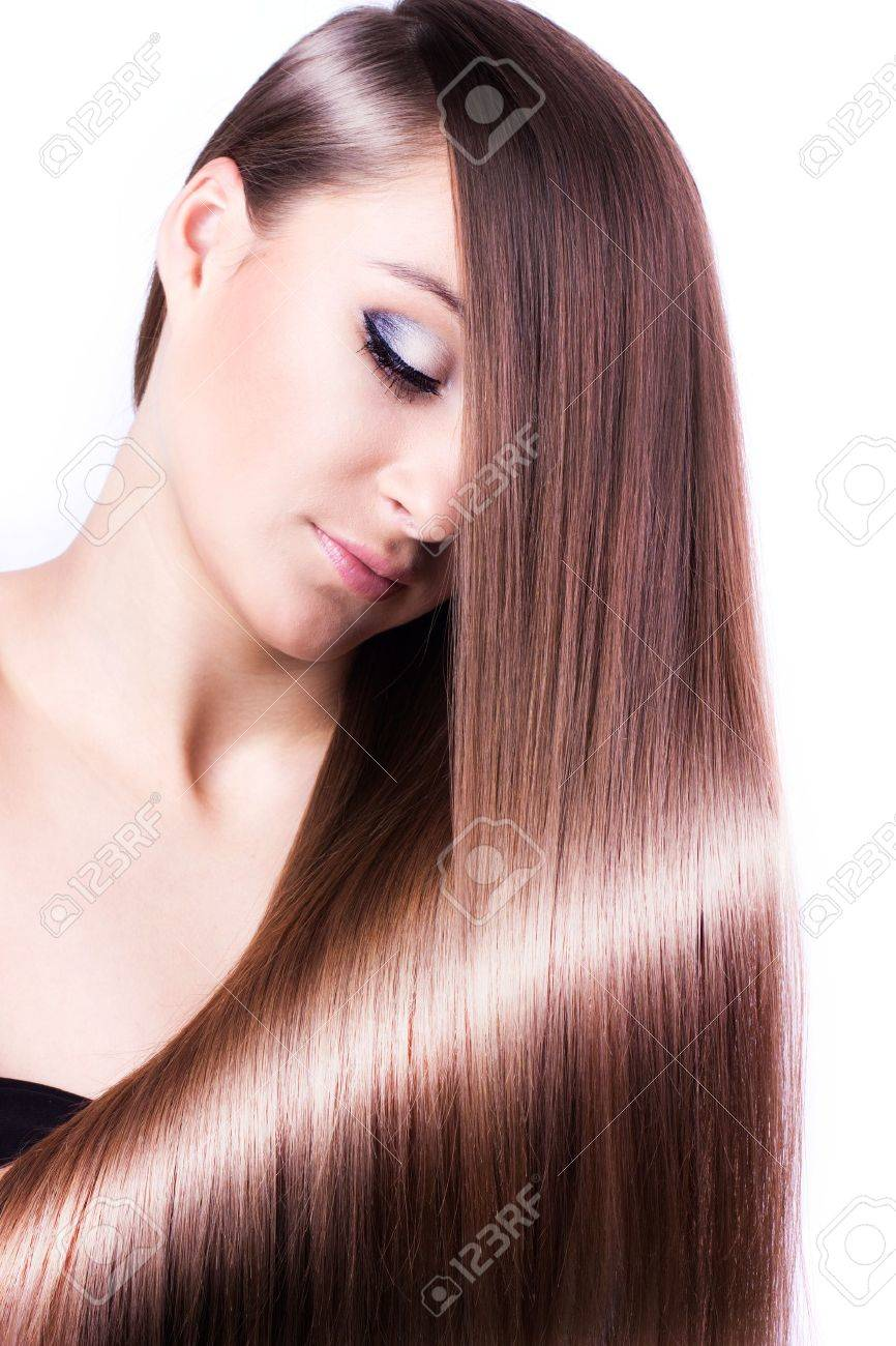 woman with healthy long hair isolated on white background - 19288191