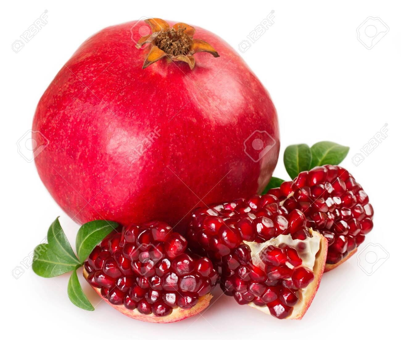 fresh pomegranate isolated on white background - 125588864