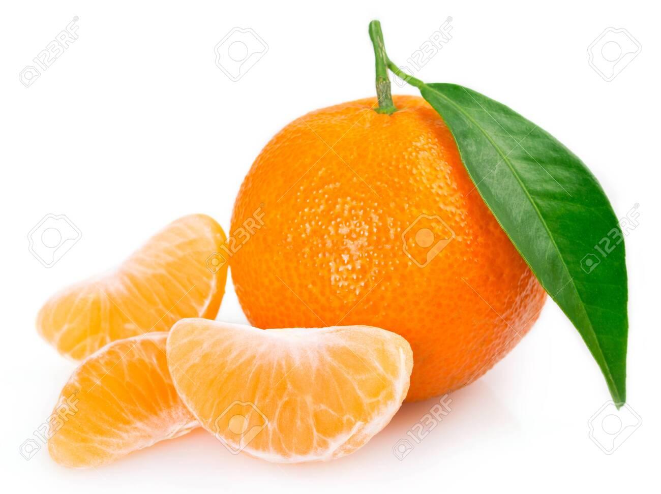fresh mandarin isolated on white background - 126575575