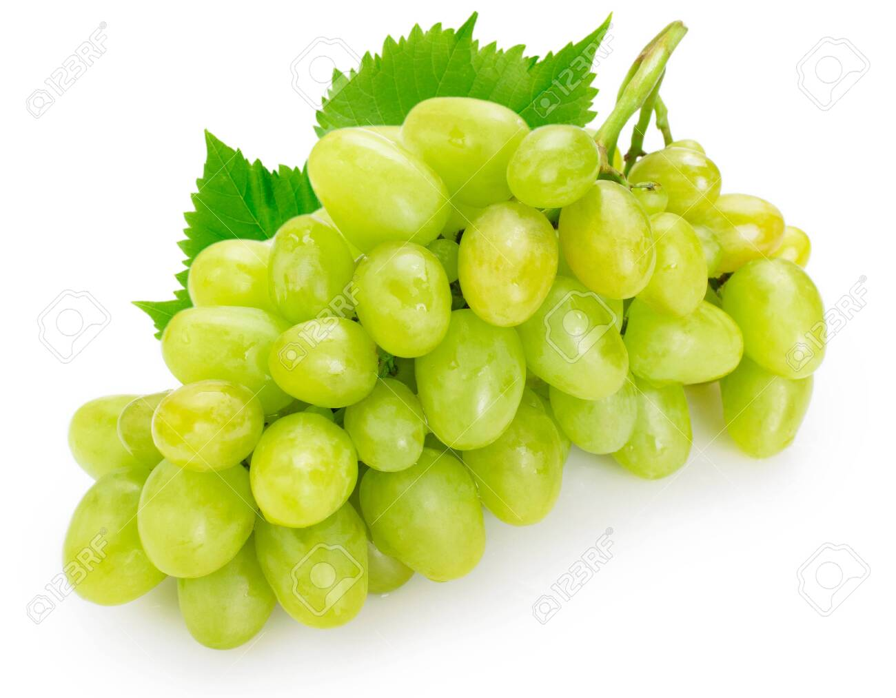 fresh green grape isolated on white background - 138900090