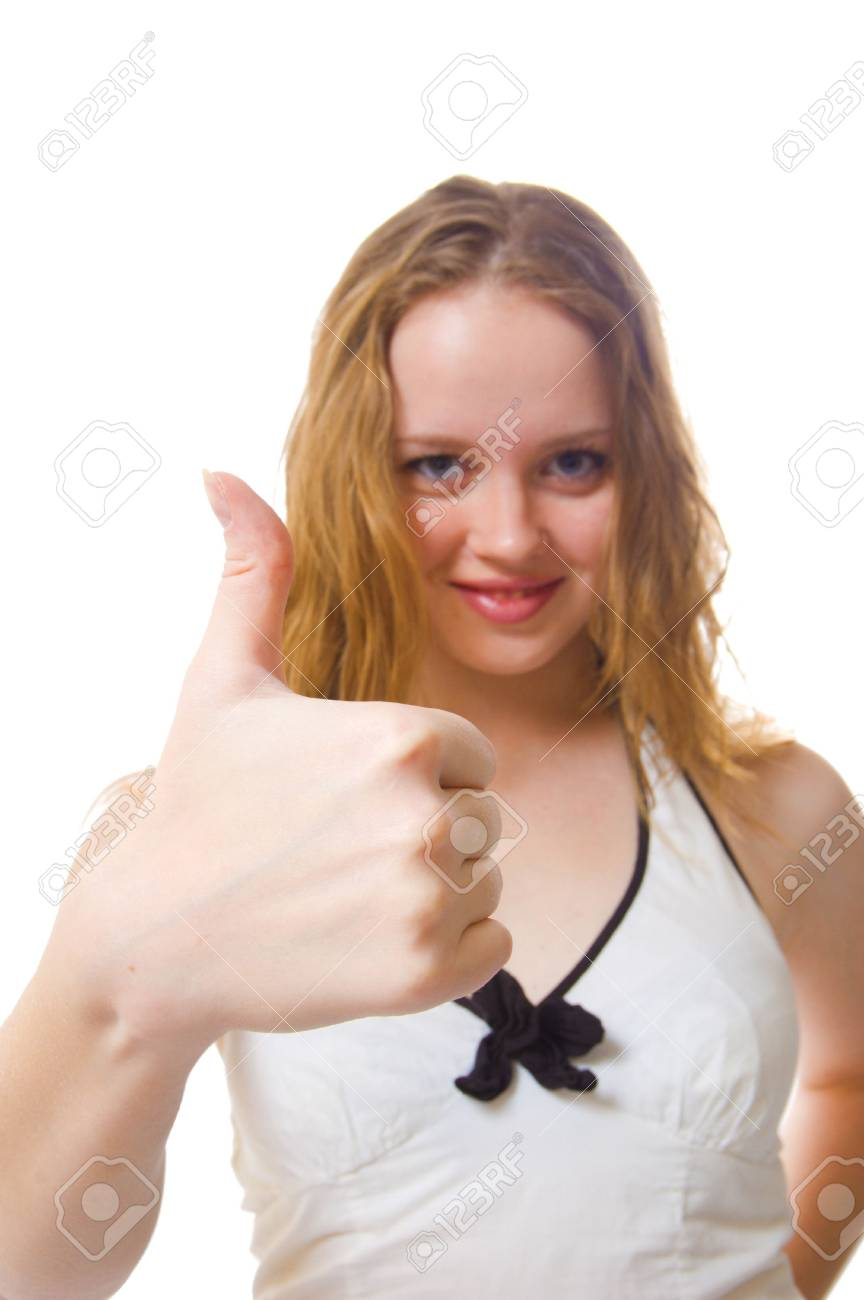 Portrait of an attractive young woman giving the thumbs-up, isolated on a white . Stock Photo - 3616648