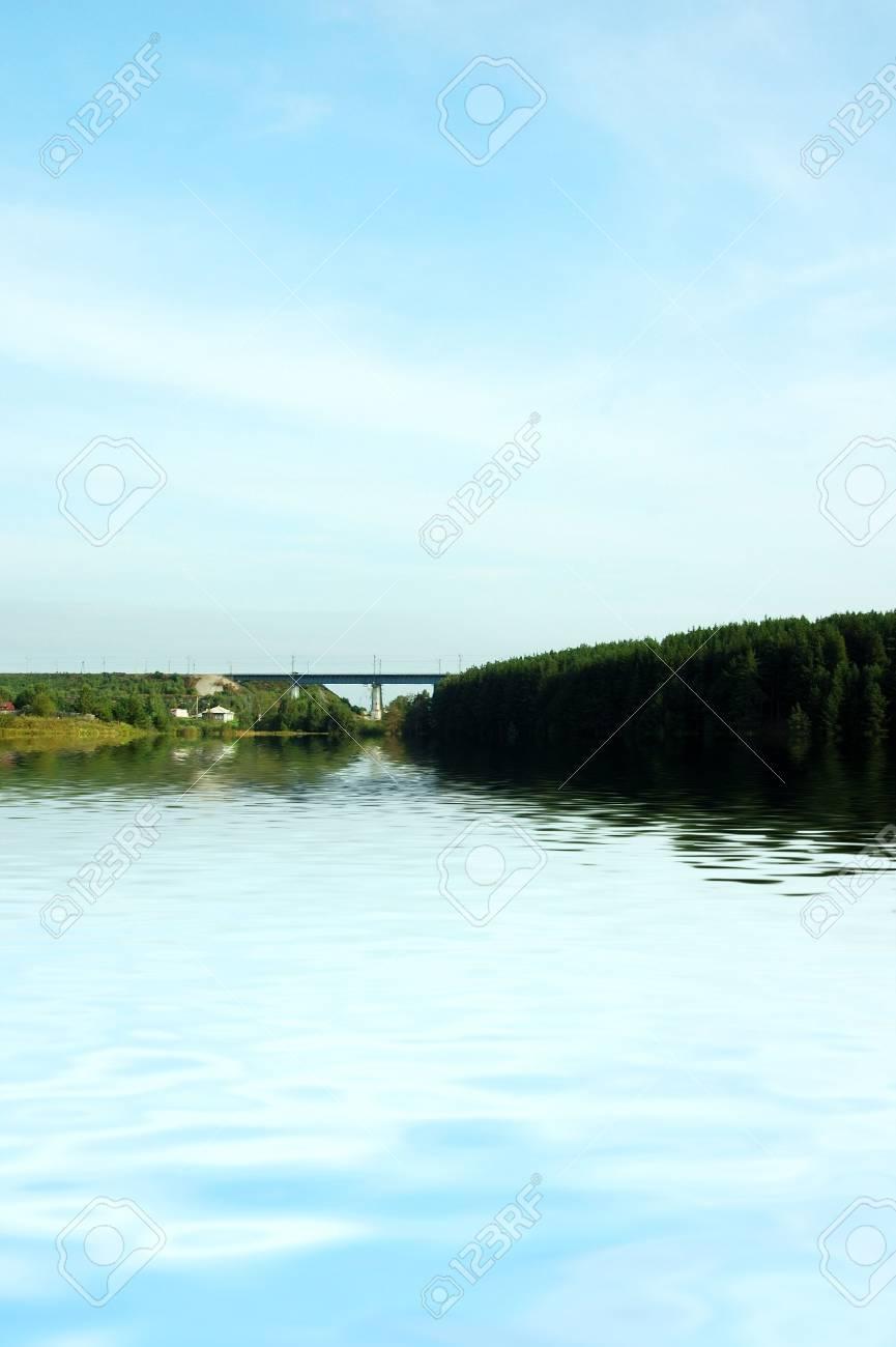 Lake with bridge Stock Photo - 2995057