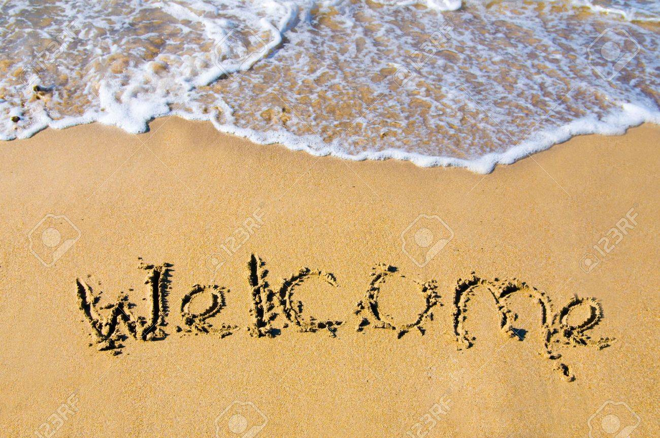 welcome written in a sandy tropical beach Stock Photo - 3635983